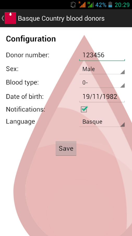 Basque Country blood donors- screenshot