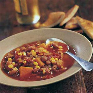 Winter Squash Stew with Pinto Beans and Corn.
