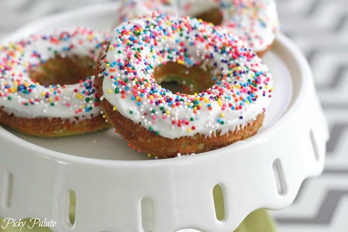 Green Velvet Baked Sprinkle Donuts