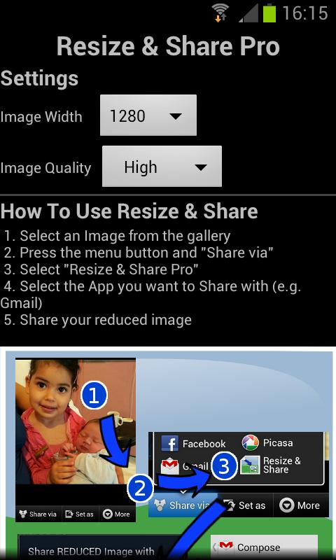 Image Resize and Share - screenshot