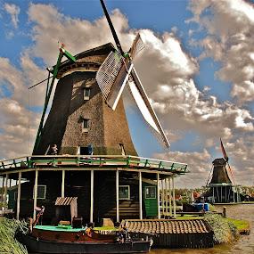 Windmill by Sebastian Mezei - Buildings & Architecture Public & Historical ( water, wind, sky, zaanse schans, windmill )
