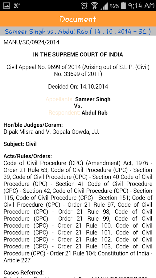 Manupatra Supreme Court- screenshot