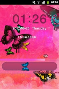 GO Locker Theme Pink Butterfly - screenshot thumbnail