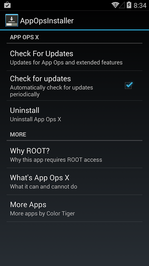 App Ops 4.3 / 4.4 KitKat - screenshot