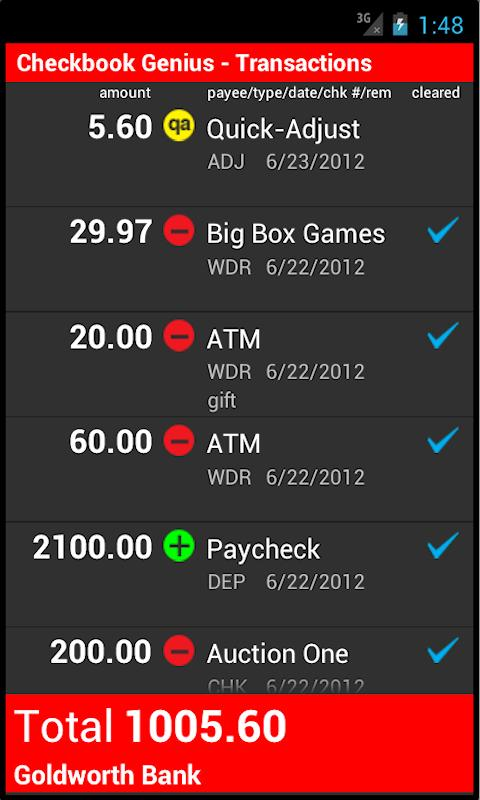 Checkbook Genius 1.5.3a - screenshot