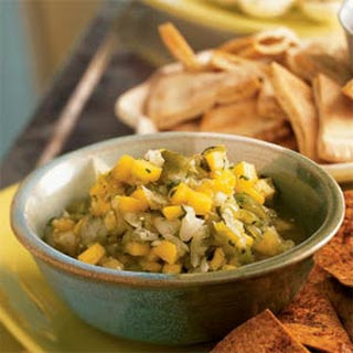 Roasted Tomatillo-Mango Salsa with Spiced Tortilla Chips