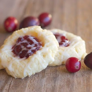 Cranberry Thumbprint Cookies With Almond Glaze