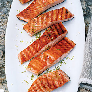 Grilled Salmon with Lime Butter Sauce.