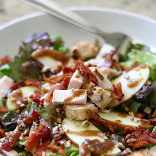 Apple, Bacon & Pecan Salad with Garlic Balsamic Dressing.