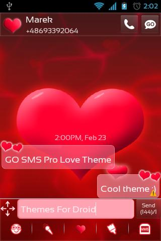 GO SMS Pro Love Theme - screenshot