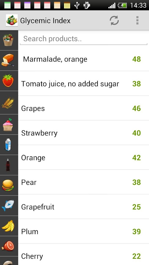 Glycemic Index of products - screenshot