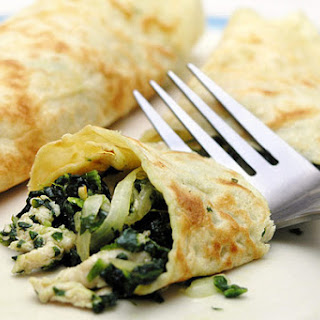 Bacon, Brie, and Spinach Crepe filling.
