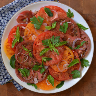 Heirloom Tomato Salad with Pomegranate-Sumac Dressing
