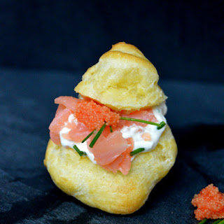 Smoked Salmon Choux Puff with Horseradish Cream