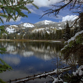 Framed Lake and Mountain by Dale Fillmore - Landscapes Mountains & Hills ( water, reflection, mountain, snow, landscape, , renewal, green, trees, forests, nature, natural, scenic, relaxing, meditation, the mood factory, mood, emotions, jade, revive, inspirational, earthly )