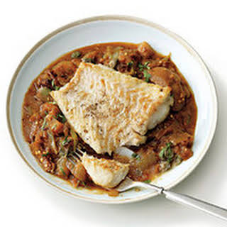 Cod with Stewed Eggplant.