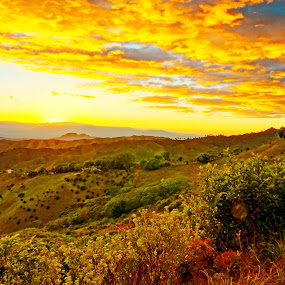 sunset fire by Charles Saunders - Novices Only Landscapes ( mountains, sky, sunset, dominican republic )