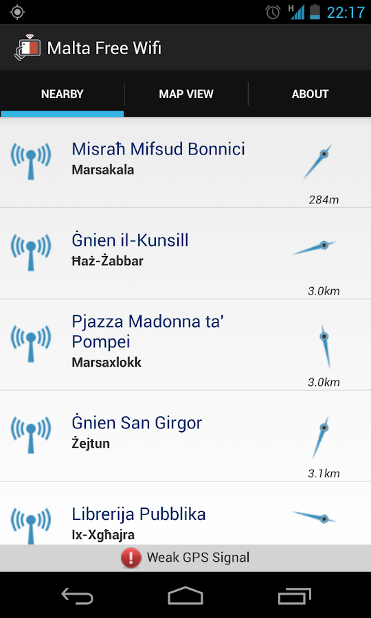 MCA Malta Free WiFi - screenshot