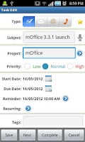 Screenshot of mOffice - Outlook sync