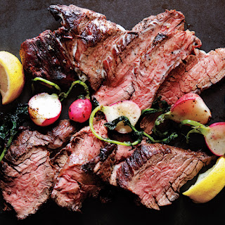 Grilled Steak and Radishes with Black Pepper Butter.