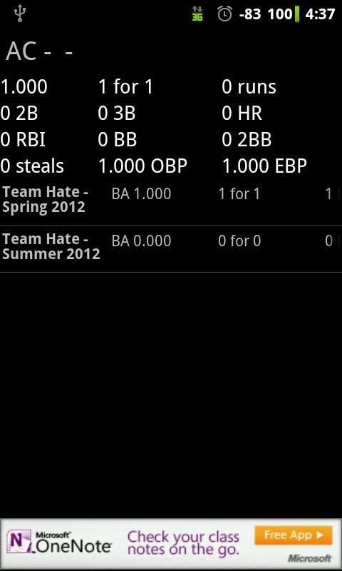 Softball Stats Pro - screenshot