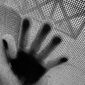 Hi5 by Shivalkar Jha - Abstract Patterns ( monochrome, blacknwhite, concept, pattern, hand, impression, shivalkarjha, candid, ipadmini, india, hyderabad, telangana, pics, photography, metal, net )