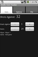 Screenshot of Goalie Stats Tracker