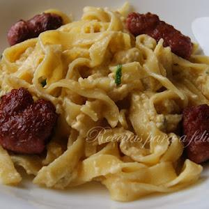 Creamy Tagliatelle with Italian Sausage Meatballs