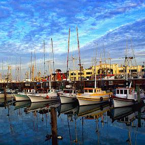 Morning at the Wharf by Bill      (THECREOS) Davis - Transportation Boats ( water, reflection, blue, boats, device, pier, fisherman's wharf, mirror image, transportation, gloss, san francisco, early morning,  )
