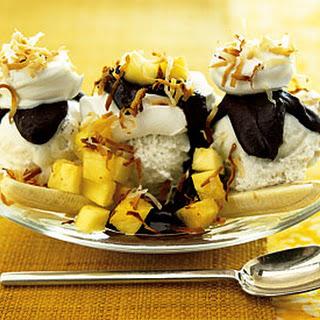 Banana Split with Curried Chocolate-Coconut Sauce