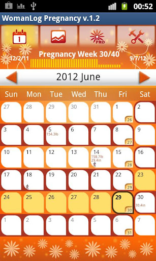 Screenshot #1 of WomanLog Pregnancy Calendar / Android