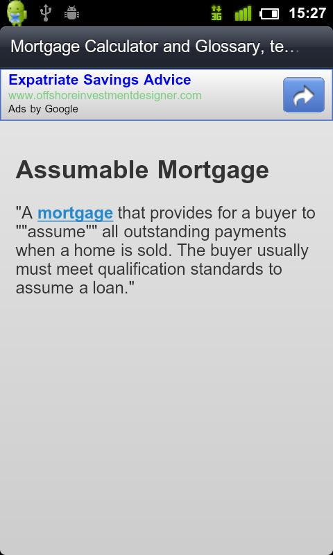 MortGage Glossary / Calculator - screenshot