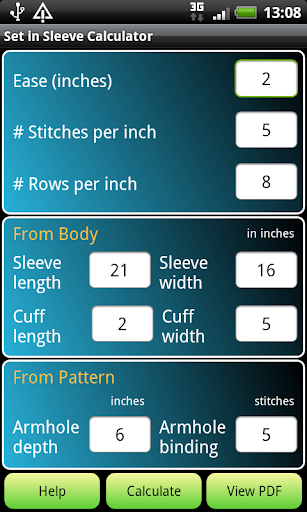 Knitting Set in Sleeve Calc