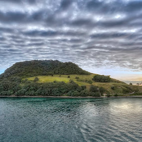 Pulling into Tauranga, NZ by Barb Hauxwell - Landscapes Waterscapes ( water, clouds, port, tauranga, ocean, sunrise, new zealand, island, , relax, tranquil, relaxing, tranquility )