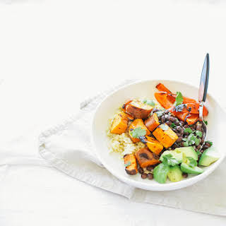 Simple Grilled Sweet Potato + Black Bean Burrito Bowls (with Spicy Cumin Garlic Drizzle).