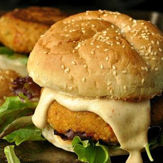 Cajun Chickpea Sweet Potato Burgers.