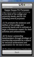 Screenshot of Kappa Kappa Psi Reference App