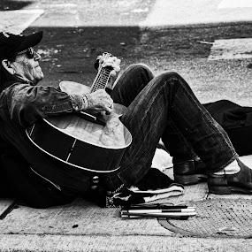 by Lou Plummer - People Portraits of Men ( austin, busking, texas, guitar, blind,  )