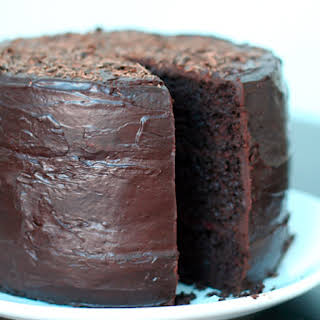 Double Chocolate Layer Cake with Raspberry Filling.