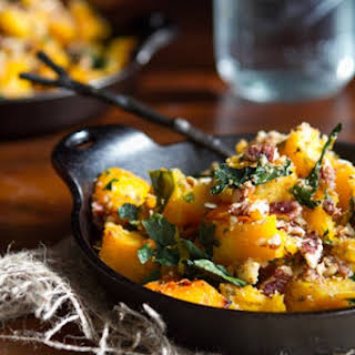 Roasted Butternut Squash with Kale and Almond Pecan Parmesan.