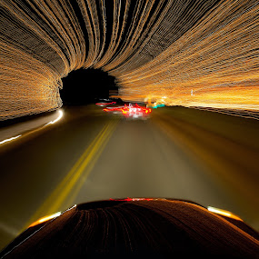 Santa at Warp Speed by James Bokovoy - Abstract Light Painting ( light streaks, time exposure, christmas lights, driving, transportation )
