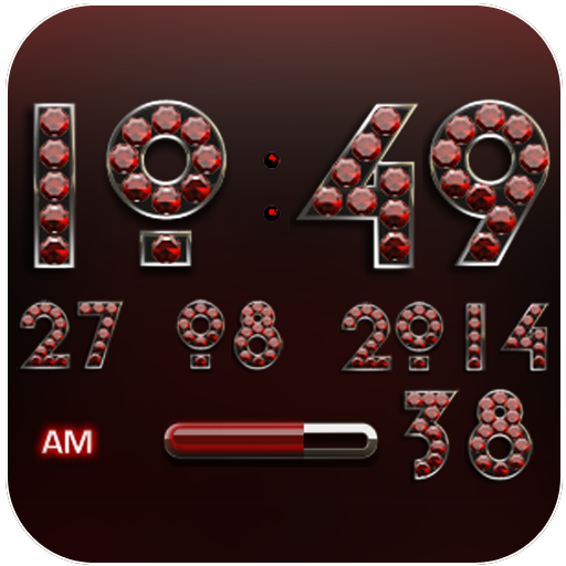 Digi Clock Widget Red Diamond
