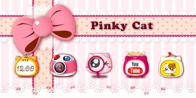 Screenshot of Pinky Cat GO Launcher Theme