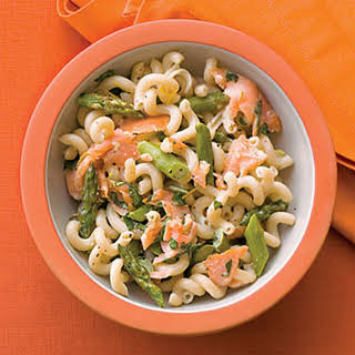 Asparagus, Salmon, and Basil Pasta.