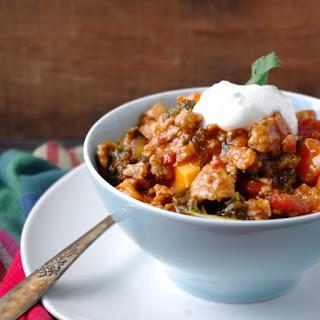 (No-Bean) Sweet Potato, Kale & Turkey Chili (gluten free & a vegetarian swap!).