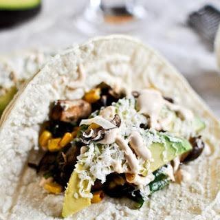 Grilled Corn, Mushroom + Roasted Poblano Tacos.
