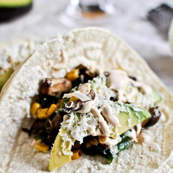 Grilled Corn, Mushroom + Roasted Poblano Tacos