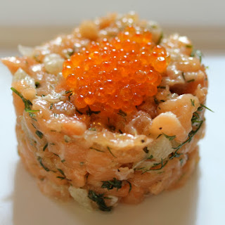 Salmon Tartare with Chinese Grapefruit.