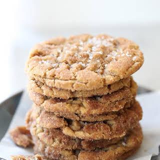 Flourless Chewy Cinnamon Sugar Peanut Butter Cookies.