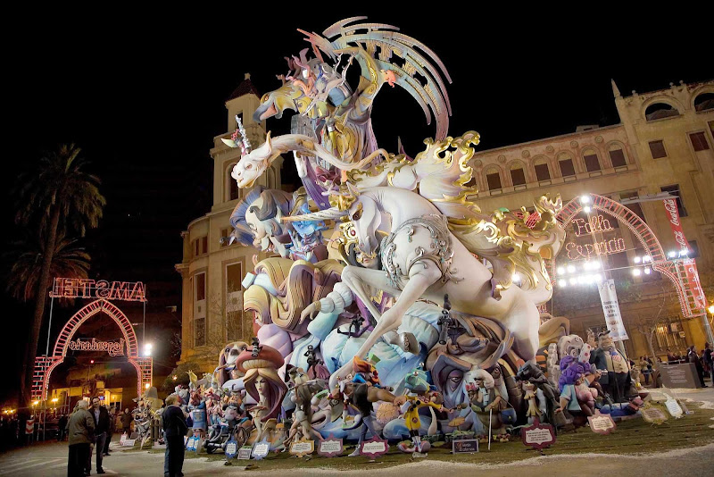 One of the more than 350 amazing satirical sculptures made of wood placed thoughout the neighborhoods of Valencia, Spain, during the city's biggest festival, Las Fallas.